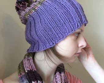 Girly Tasseled Scarf + Pom Hat, Set or Sold Separately