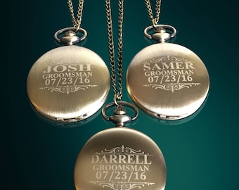 10 Groomsmen Pocket Watches - 10 Best Man engraved gifts - Man of Honor and Father of the Bride gift set of 10 - Personalized gifts in boxes