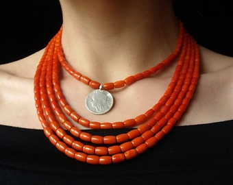 Antique Necklace Genuine Coral Real Coral Necklace With Silver Coin Necklace Real Antiques Jewelry Ukrainian Necklace  Jewelry Original 36