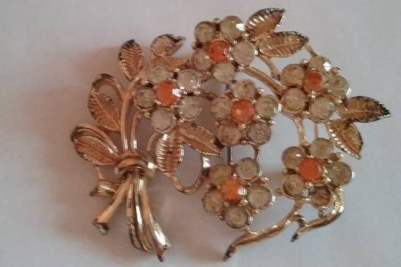 Spray of Orange and Clear Rhinestone Brooch, Vintage Rhinestone Brooch, Golden Floral Brooch with Rhinestones, #XmasGift