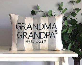 Grandparent gift, Grandma gift, Grandpa gift, Birth announcement, Grandma & Grandpa, Custom Monogrammed Pillow, Rustic Home Decor