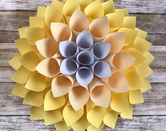 Paper Dahlia - Yellow Paper Wall Flower - Yellow Dahlia - 3D Wall Flower - Dahlia Wreath - Nursery Wall Flower - Yellow Flower Backdrop