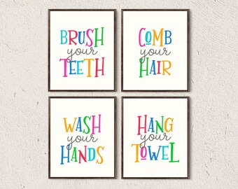 Bathroom Print Set Kids Bathroom Decor Bathroom Rules Sign Kids Bathroom  Digital Print Printable Nursery Prints