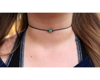 GREEN AVENTURINE NECKLACE: Aventurine Choker Necklace, Aventurine Pendant Necklace, Aventurine Crystal, Aventurine Gift, Aventurine Jewelry