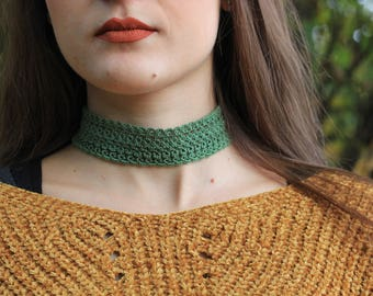 Choker High Green in tatting//gifts for her//gift//accessories for her//gift ideas