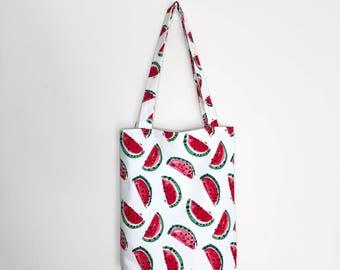 Canvas tote bag, eco bag, shopping tote, watermelon tote, no waste, eco friendly bag, watermelon print bag