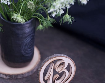 Wooden table numbers wedding - 4'' - table number stands - table number - wooden table number with wire holder-  rustic wedding table decor