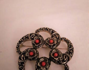 Vintage Sarah Coventry Large Brooch - Antiquated Gold/Black - with Center Flowers and Red Beads - 1970s