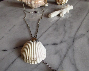 Sale- Unique long sea shell , Y necklace ,Mermaid necklace,recycled beads,boho chic,summer jewelry