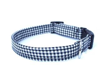 Black Gingham Dog Collar