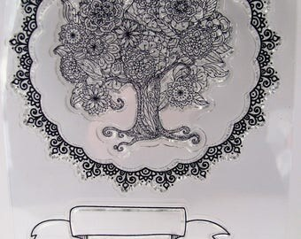Clear stamps - tree - crown - banner - 4 stamps