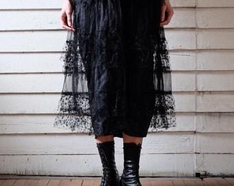 1910s Black Lace Dress / Antique Edwardian Dress / Vintage 1910s Tea Length Dress / Belle Époque Dress / Antique Goth / XS S
