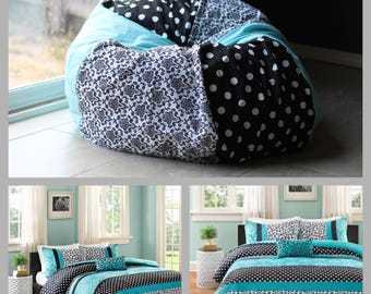 CUSTOM MATCHING DECOR Bean Bag Chair Cover Only. Match Bedding, Curtains, Comforters, Bedroom Decor. Stuffed Animal Storage. Charity!