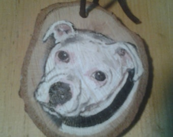 Painted Dog Breed Ornament, Memorial, White Pit Bull