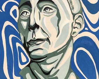 Original  Painting Art Wall Art Modern Art Green Blue White Black Decor Drawing Gift Wild, 13.25'' x 9,27''