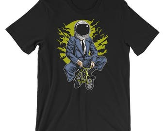 Bike to the Moon Astronaut Wants to Play a Game Short-Sleeve Unisex T-Shirt