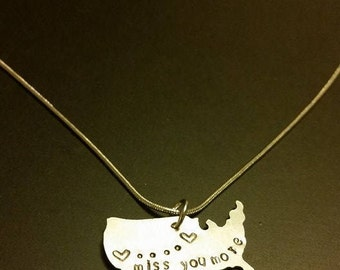 Long Distance Relationship Map Necklace Miss You More