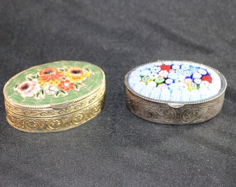 Two Vintage Italian Millefiori Pillboxes, Start Your Collection - Micro and Enamel