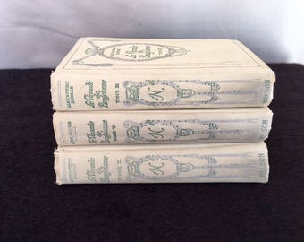 BOOK STACK in CREAM by Alexandre Dumas, beautiful on a shelf in any room!  Great staging!  Great covers and colors!  3 volumes!