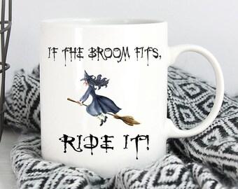 Halloween Mug,Witch Mug,Halloween Gift,Broom Mug,Halloween Coffee Mug,Halloween Cup,Witch Cup,Halloween Witch,Happy Halloween,Witch Mug
