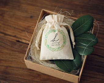 custom wedding favor bags Personalized cotton drawstring pouch candy bags,Wedding Seed Packet,Garden Wedding,Floral gift bags 12-Pack