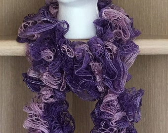 Shades of Purple Knitted Ruffle Shimmer Scarf / Purple Shimmer Knit Ruffle Scarf