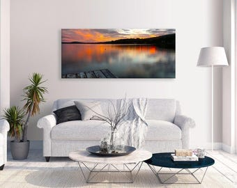Lake Canvas Orange Sunset  Art Panorama Canvas Wall Art Picture Home Decor