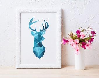 Deer print geometric deer print blue deer head print deer printable Triangle deer print Scandinavian print deer wall art print printable