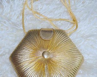Gold Pleated Vintage Handbag
