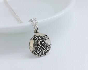 St michael necklace etsy saint michael archangel medal necklace men religious pendant st michael necklace catholic guardian mozeypictures Gallery