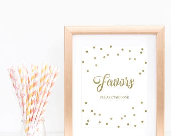 Gold Glitter Favors Sign Gold Confetti Baby Shower Signs Printable Gift Table Signage Gold Table Top Sign Bridal Shower Favor Signs PDF GCO