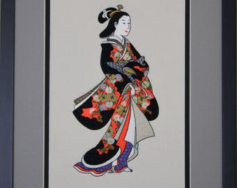 Japanese Geisha-colorful Embroidered, Framed Picture
