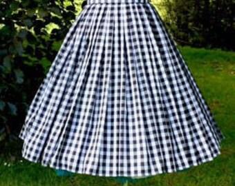 "black gingham ""Katherine"" pleat skirt size XL"