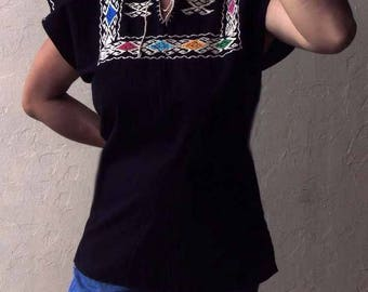 Handmade cotton embroidered black blouse made in Oaxaca. Mexican folk. Ethnic fashion