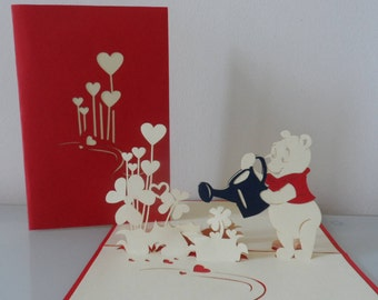 Winnie the Pooh Pop up Card  Birthday -Get Well- Children- Baptism- Blank (SKU150)