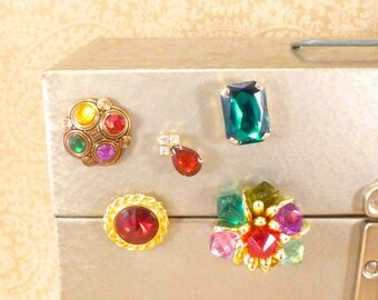 Upcycled vintage jewelry magnet set