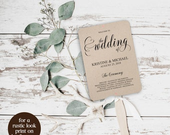 Wedding Program Fan, Wedding Program Fan Template, Wedding Program Pan DIY, Wedding Program, Printable Program, Program Fan Template, BD6045
