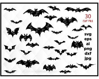 Halloween SVG, Bats SVG, Bat SVG, Halloween Cut files, Bat Silhouette Vector svg dxf eps png Silhouette Cricut Transfer, Cutting Machine