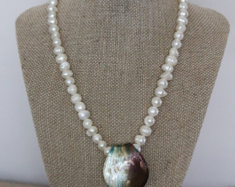 Pearl with Leaf Hand-blown glass leaf necklace