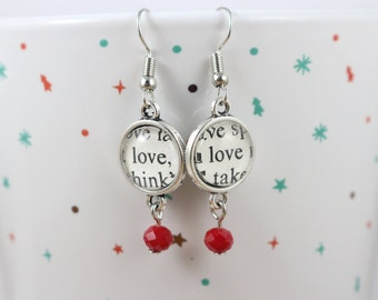 """Romeo and Juliet """"Love"""" Book Page Earrings - Shakespeare Jewelry - Literary Gift - Shakespeare Gift - Gift for Book Lover - Romantic Gift"""