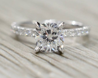 Cushion Brilliant in a Hidden Halo French Pavé Diamond Engagement Ring in White
