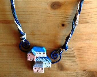 LITTLE VILLAGE necklace paper mache