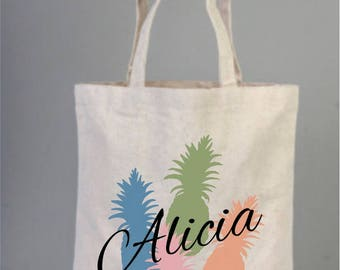 Pineapple Tote Bags, Destination Beach Wedding Tote Cotton Tote Bags, Welcome tote bags, Wedding Favor, Palm tree tote, Welcome party totes