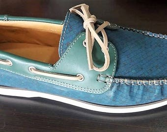 Cork Shoes in Blue - 100% Cork and Leather Shoes - Natural Portuguese Cork - Men's Shoes - Gift For Him