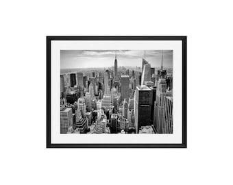 New York Photography framed -  Midtown, fine art print - vintage photography - Manhattan - New York skyline - framed black and white photos