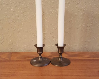 Set of 2 vintage brass short candlesticks.  Boho, eclectic, retro.