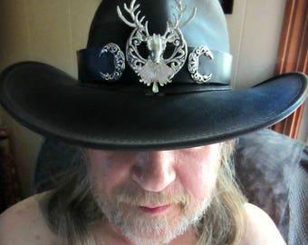 Stag Headpiece, Silver Stag Headband, Black Leather Hat Band, Crescent Headpiece, Stag Hat Band, Triple Goddess, Cernunnos, Yule Headpiece