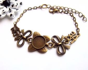 x bronze bracelet ring 12 mm, stylized bow holder, love