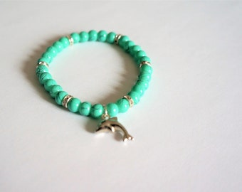 painted elastiqie, glass beads bracelet, turquoise blue, gifts for women, gift idea