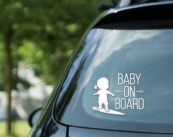 Baby on board sign surfing, surfing girl, vinyl on decal paper, car decal, kid on board, surfing kid